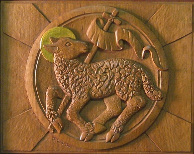 Lamb of God bas relief, hand-carved by Deborah A. Mills 2009